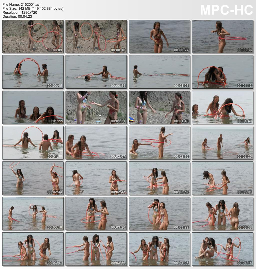 Funny games of young nudist girls on the beach